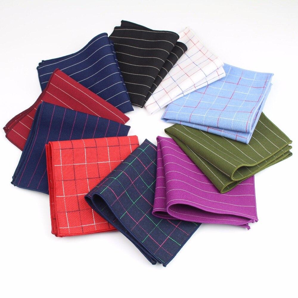 Classic Men's Plaid Cotton Polyester Handkerchief Strip Pocket Square 23*23cm Hankies Towel Casual