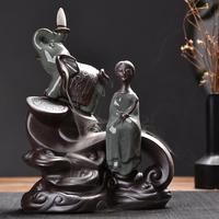 Chinese Buddha Ceramic Backflow Incense Burner Lovely Elephant Smoke Waterfall Incense Cone Holder Creativity Office Home Decor