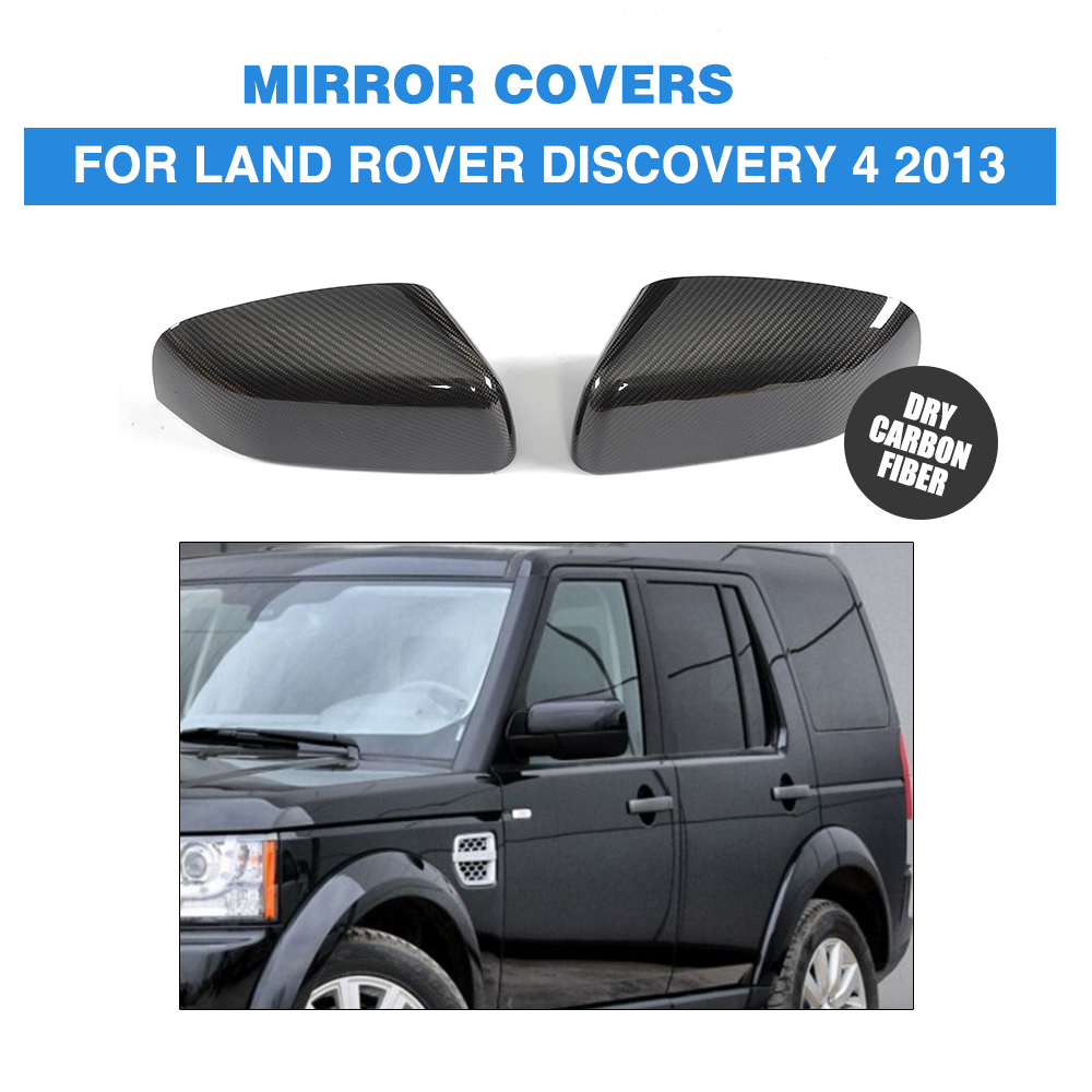 DRY Carbon Fiber Rear View Mirror Covers Side Wings Caps Car Sticker For Land Rover Discovery 4 2013 Add On Style
