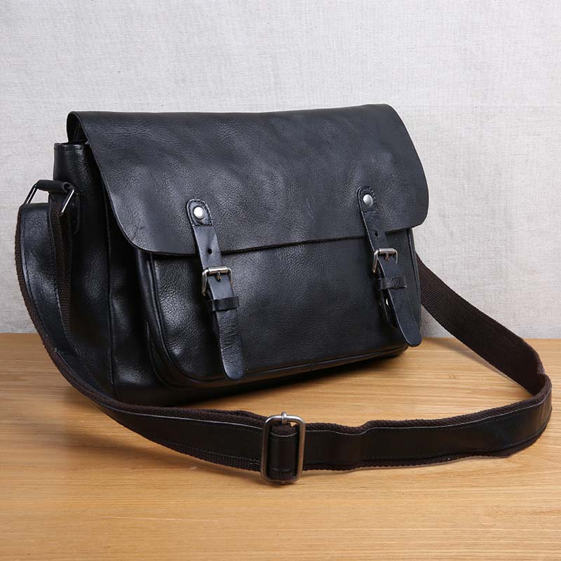 AETOO Handmade leather men's bag retro shoulder bag Messenger bag head layer leather casual men's bag aetoo spring and summer new leather handmade handmade first layer of planted tanned leather retro bag backpack bag