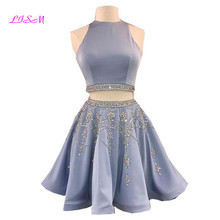 Real Photos Two Pieces Mini Homecoming Dress O Neck Beaded Crystals Satin Cocktail Sleeveless Above Knee Short Party Gowns