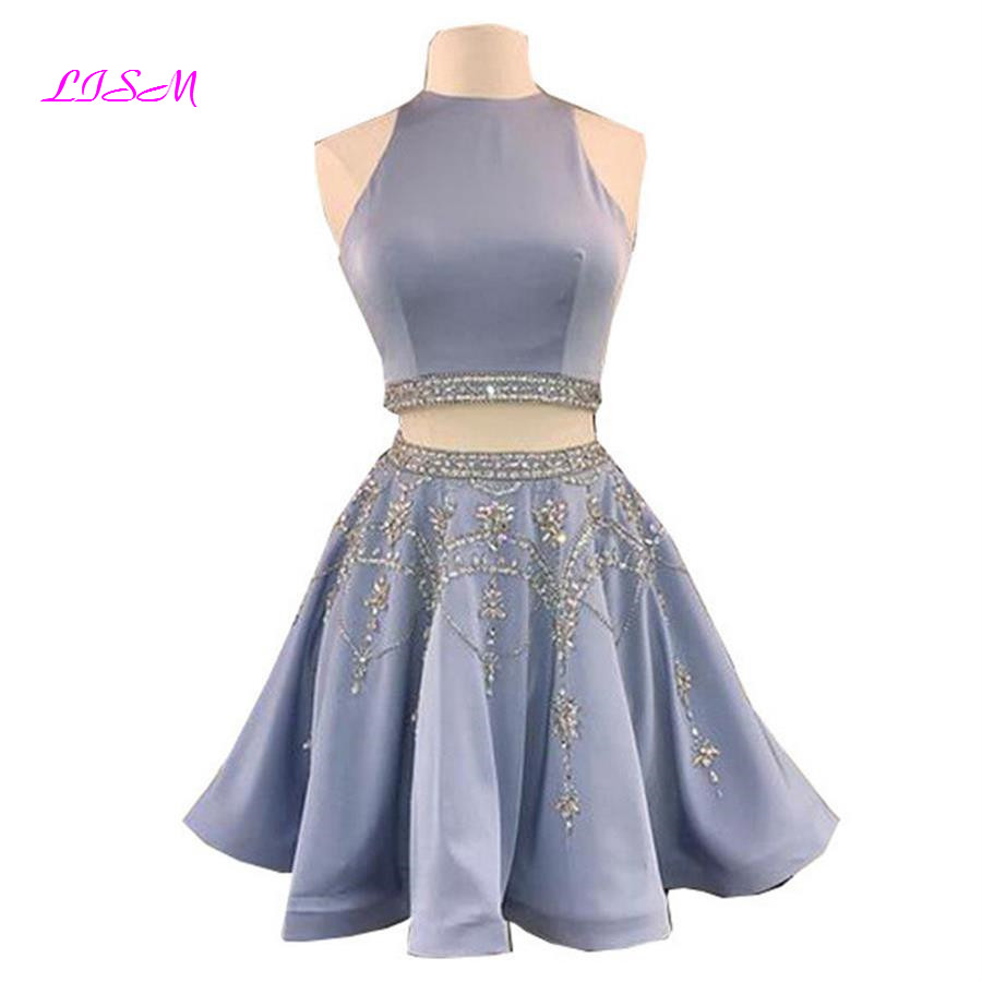 Real Photos Two Pieces Mini Homecoming   Dress   O Neck Beaded Crystals Satin   Cocktail     Dress   Sleeveless Above Knee Short Party Gowns