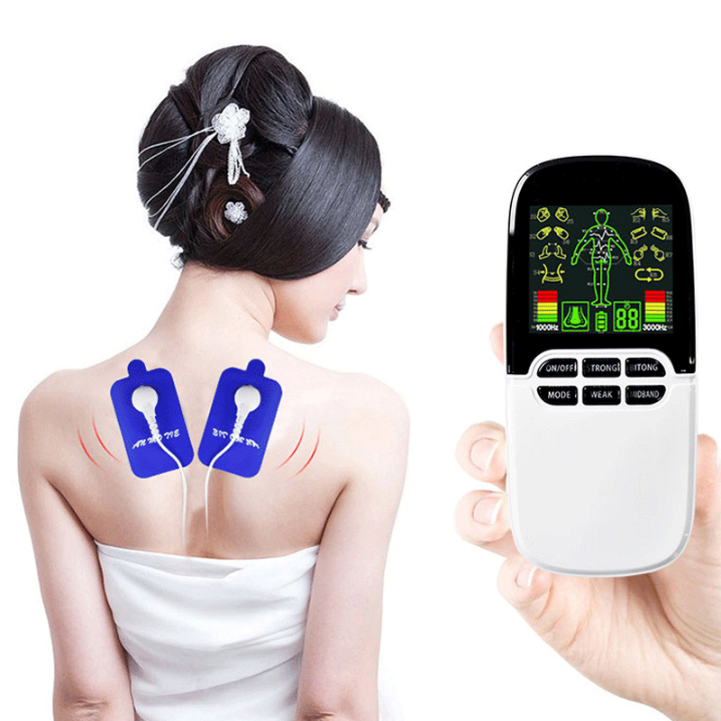 лучшая цена Dual-Output Electric Massager Massage Pulse TENS/EMS Acupuncture Body Physiotherapy Machine Electrical Muscle Relax Fat Burner