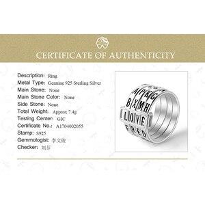 Image 5 - לוטוס כיף אמיתי 925 כסף סטרלינג טבעי בעבודת יד תכשיטים Rotatable טבעת יכול להפוך שונה מילות טבעות לנשים Bijoux