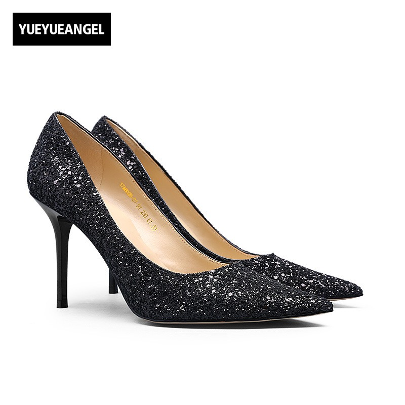 Women Sexy Sequins High Heels Shoes Elegant OL Genuine Leather Pointed Toe Formal Pumps Female Bling Wedding Party Dress Shoes