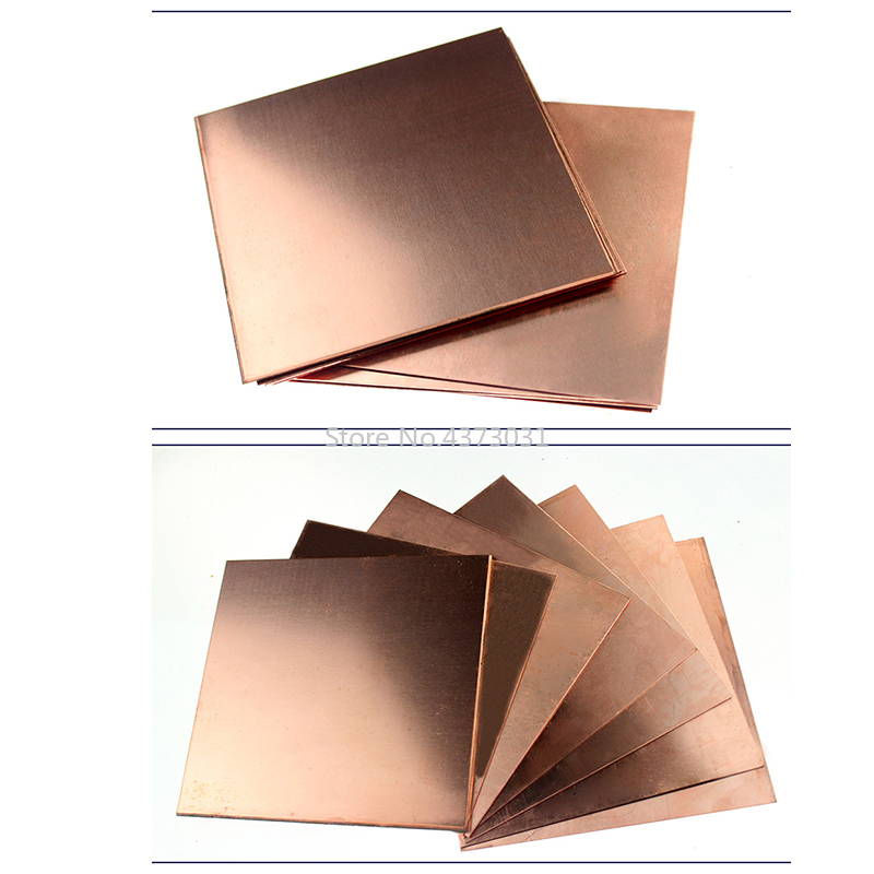 1pc Copper Sheet Plate DIY Handmade Material Pure Copper Tablets DIY Material For Industry Mould Or Metal Art 100x100mm