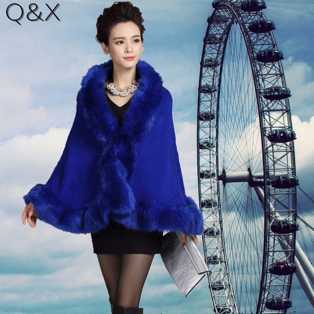 SC53 2017 New Autumn Winter Women High Quality Fake Fox Fur Collar Wool Cashmere Poncho Capes Knitted Cardigan Sweater Coat