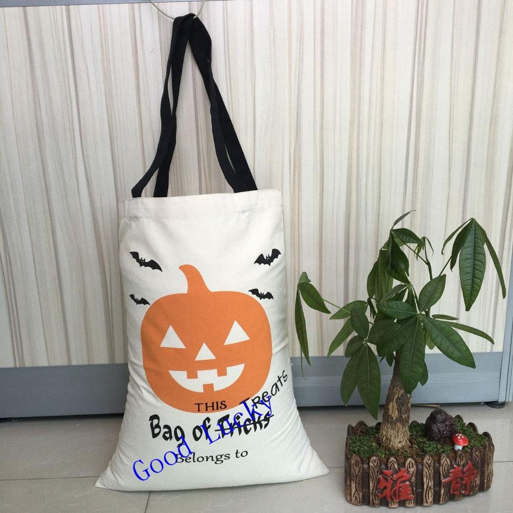 20pcslot free shipping new halloween gift bags kids adults present candy bags cotton canvas drawstring tote bag - Halloween Gifts Kids