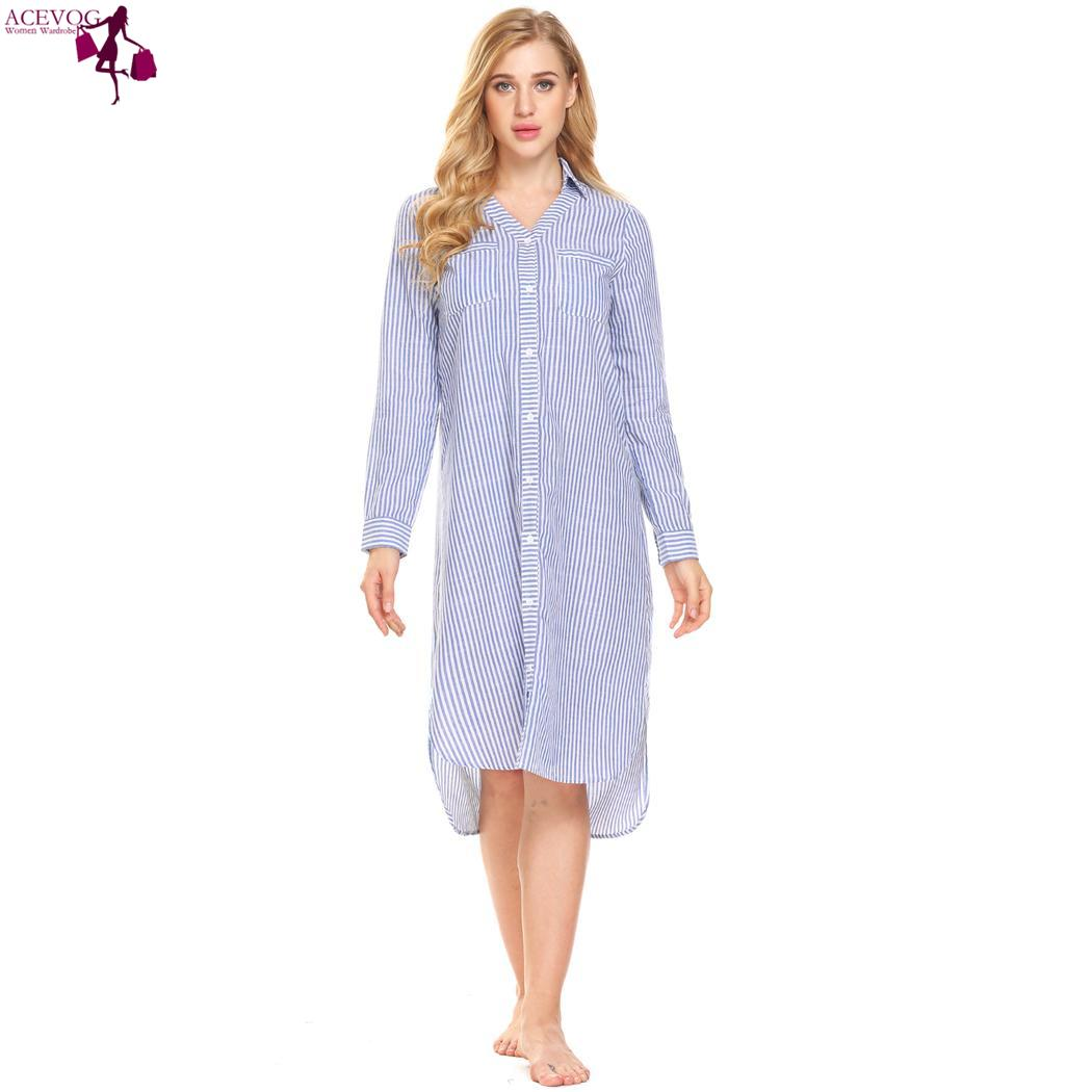 ACEVOG Button women fashion love Nightgown Down Sleepshirt Women Long Striped Sleeve Dress Sleep Lounge