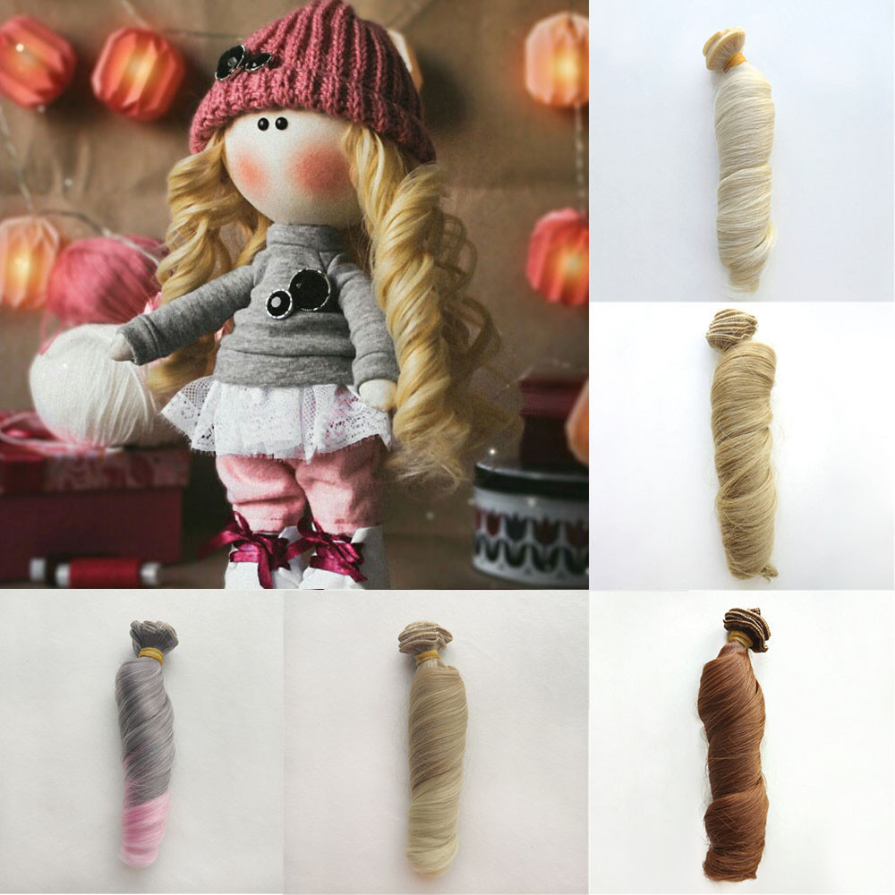 1pc 15cm Hair Piece Heat Resistant Synthetic Wire Roman Curly Hair Extensions For All Dolls DIY Doll Wig Hair