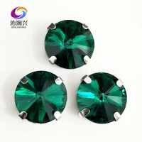Malachite vert forme ronde AAA verre cristal argent bouton griffe strass, flatback coudre sur des pierres, bricolage/vêtements accessoires
