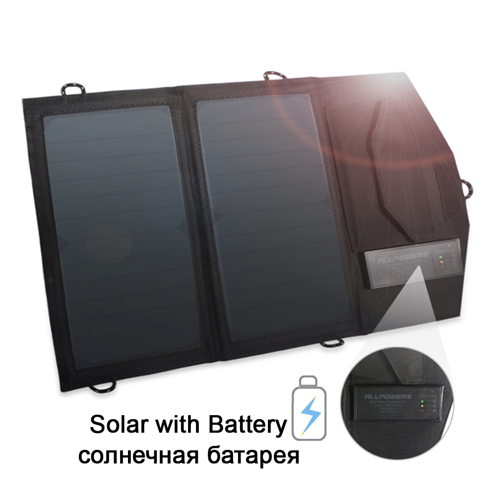 ALLPOWERS 5V14W Solar Chargers Rechargeable Battery Charger USB Output Fast Charging for iPhone Samsung Huawei etc.