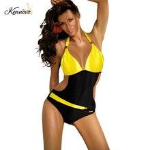 Kmnovo Marca 2017 Nuevo Top Vendaje de Una Pieza del traje de Baño Patchwork Mujeres Del Traje de Baño Sexy Bikini Traje de Baño Traje de Baño para Las Mujeres