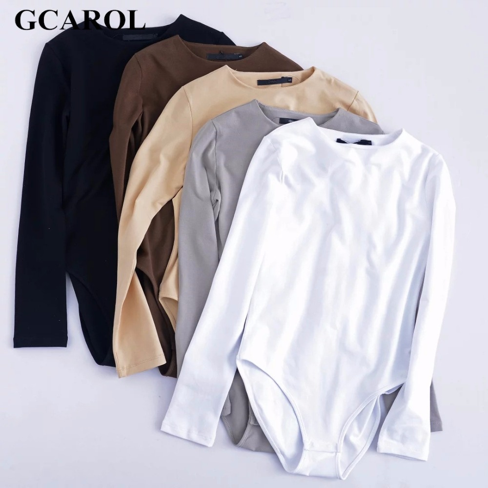 GCAROL Women Bodysuits Bikini Bottom With Snap Closures Stretch Slim Euro Style Full Sleeve O-Neck Basic Bodysuits