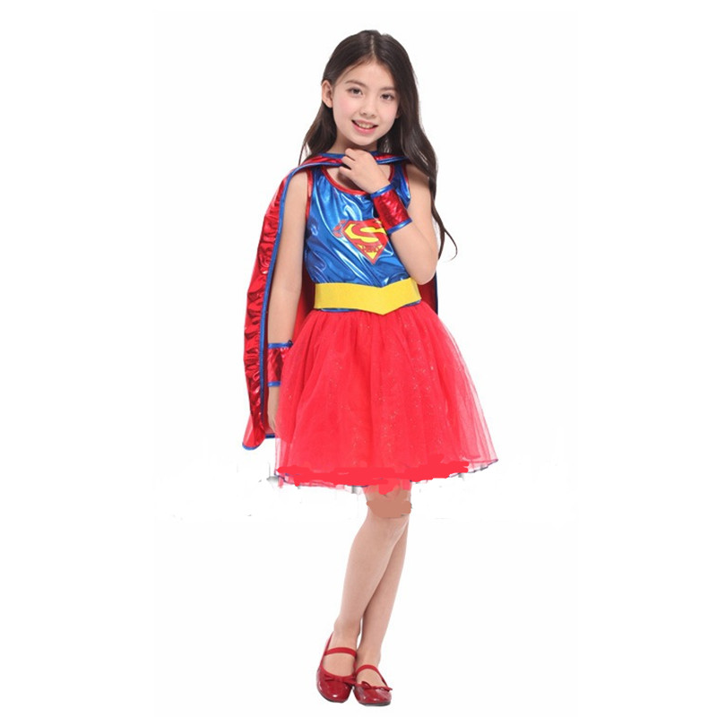 Girls Superman Cosplay Children Halloween Superwoman Costume Kids Role Play Christmas Carnival Masquerade Stage Show Party Dress Pure And Mild Flavor