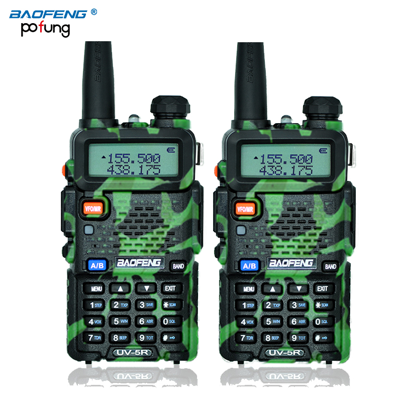 2Pcs BaoFeng UV-5R Comunicador Transceiver Two Way Radio Walkie Talkie Mic Cable
