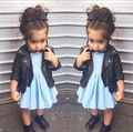 Winter 2015 Ins New Dresses PU Leather Jacket&coat Children Baby Girl Clothings Fashion&cool