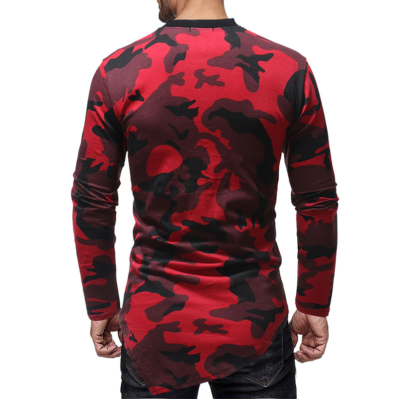 Men 39 s Warrior Drawstring Front Camouflage Slim fit T shirts Male Clothes 2018 Casual Tshirt Homme Long Sleeve T Shirt Mans in T Shirts from Men 39 s Clothing