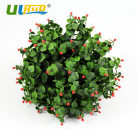 ULAND Red Artificial Boxwood Balls Plastic Plants Kissing Leaves Balls Faux Topiary Sphere Porch Wedding Christmas Garden Decor