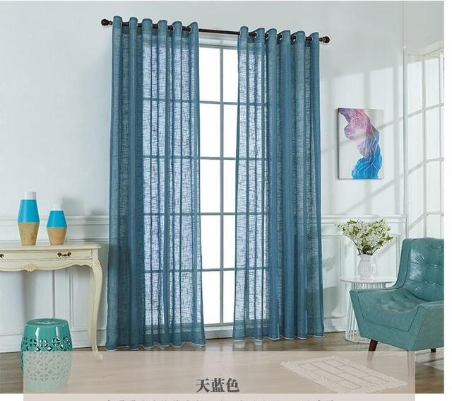 Simple Style White Blue Cotton Linen Fabric Window Voile Sheer Curtain Tulle Living Room Bed