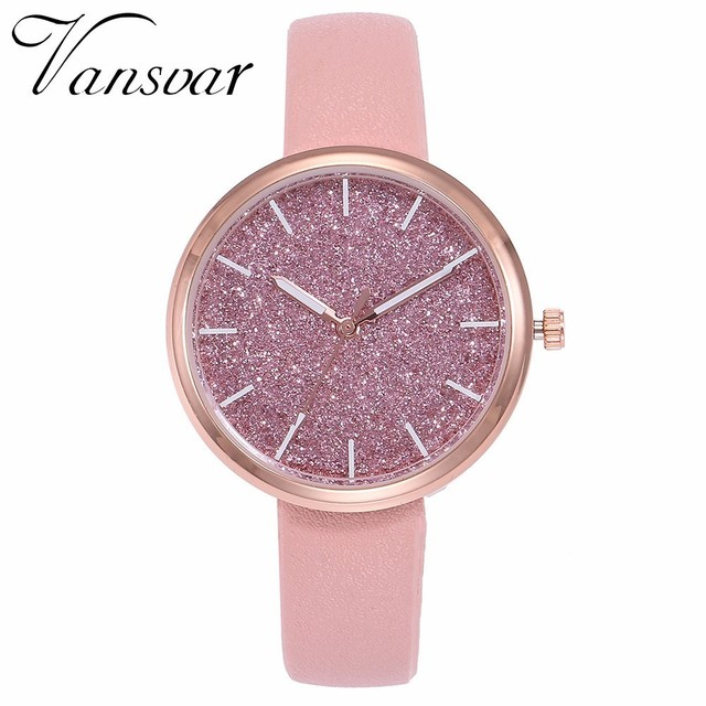 New Fashion Women Romantic Starry Sky Watch Casual Rose Gold Leather Women Rhine