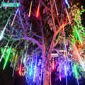 LED Meteor Dusche Regen Tubes String Lichter 50cm 8 Lampen Weihnachten Baum Eiszapfen Beleuchtung Hochzeit Im Freien Landschaft Festival Decor