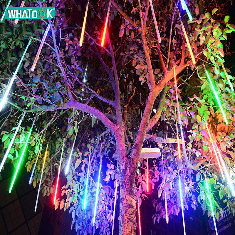 Us 14 78 20 Off Led Meteor Shower Rain S String Lights 50cm 8 Lamps Christmas Tree Icicle Lighting Wedding Outdoor Landscape Festival Decor In