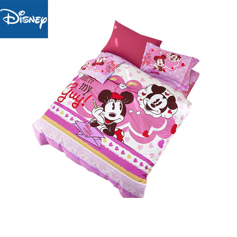 US $66.11 24% OFF|Mickey and minnie mouse bedding set for children bedroom  decoration twin size comforter covers full bedspread bed sheet 4pcs new-in  ...