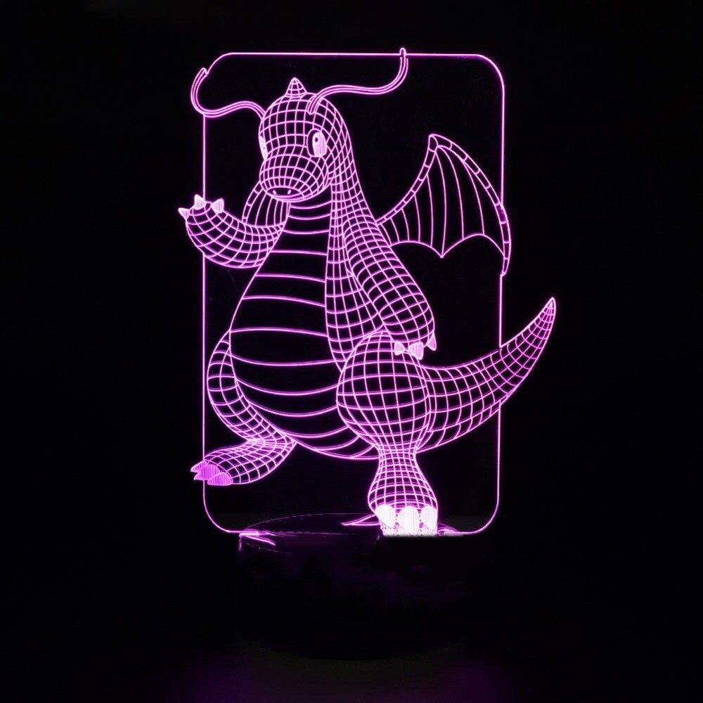 3D Led прекрасный ночные огни настольная лампа для детей подарок на день рождения Спальня мультфильм дракон моделирование домашнего декора д...
