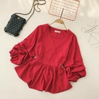 2018 Autumn new women blouse shirt V neck Long sleeve blusas shirt female tide