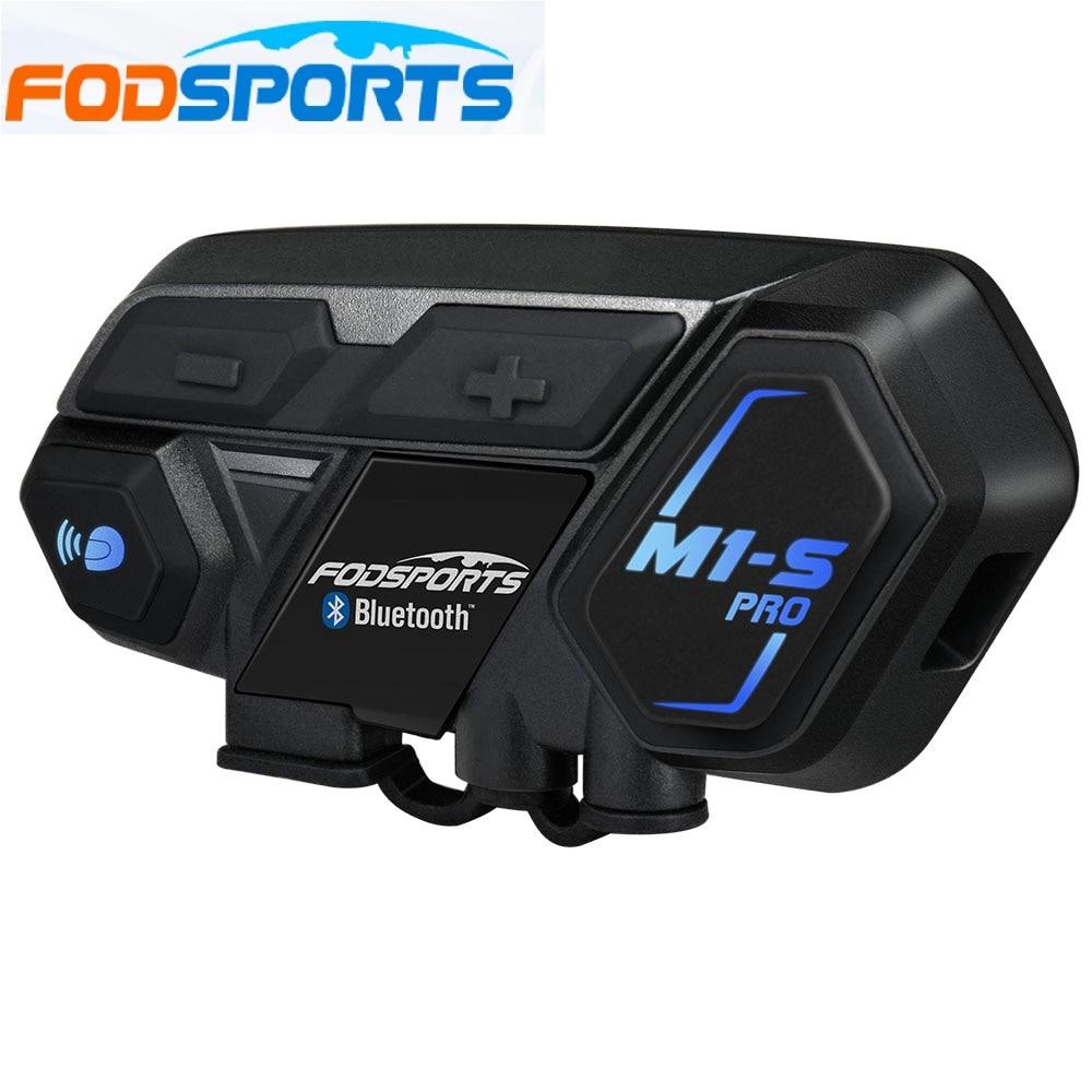 Fodsports M1-S Pro Capacete intercomunicador Fone de Ouvido Motocicleta Interfone À Prova D' Água 8 Rider 1200M Intercomunicador Do Bluetooth interfone