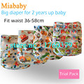 Miababy/feliz flauta 1 unids grande bolsillo pañal para 2 años bebé, tamaño ajustable y se adapta a la cintura 36-58 cm