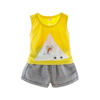 NewYellow Comfortable O Neck S/M/L/XL Summer Casual Children Cartoon Sleeveless Garment And Pant Kit Kids Two piece Outfit Set