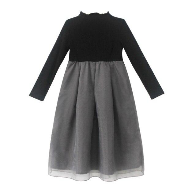 Серый черный вязать толстый теплый длинные платья возраст для 4-14 лет для девочек-подростков вечерние платья осень-зима 2018 большие размеры для девочек костюм принцессы