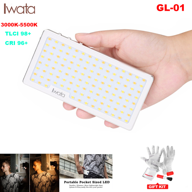 Iwata Ultra Dunne Pocket Telefoon Led Video Licht Bi Kleur CRI96 + voor iPhone XS X Op Camera canon PK Aputure Fotografische Verlichting