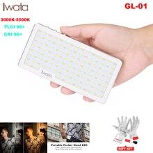 Iwata ultra fino bolso telefone led luz de vídeo bi color cri96 + para iphone xs x na câmera canon pk aputure iluminação fotográfica
