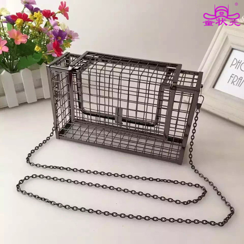 Personality Hollow Metal Cages Women Party Clutch Evening Shoulder Bag Ladies Handbag Messenger Bags Purse Unique Fashion Design 2016 fashion famous brand handbag folding clutch purse evening party leather women shoulder messenger bag bb0808