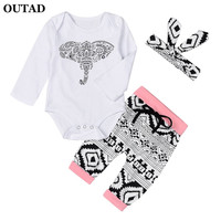 3Pcs/set 2017 Autumn Baby Girl Clothes Cute Elephant Printing Heaband Tops Bottoms Long Sleeve Tops Pants Girls Garments For Kid