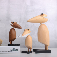 Europe  Simplicity High-quality Teakwood carving wood pecker miniature figurines tabletop craft Bird soft decoration