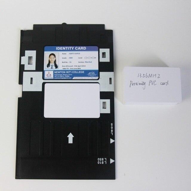 20X 광택 마감 표면 흰색 빈 잉크젯 ID PVC 카드 + 1pc ID 카드 트레이 엡손 잉크젯 프린터 A50,T50,R280,L800,L805 등