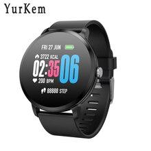 Yurkem Y11 Smartwatch Inteligente rastreador De Fitness monitor de freqüência cardíaca relógio Inteligente Homens mulheres relógios bluetooth conectado Android IOS