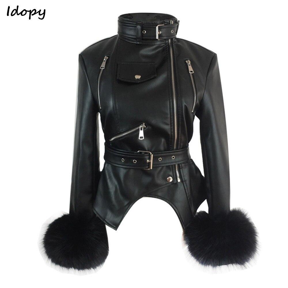 5d51a53ba US $49.48 30% OFF|Aliexpress.com : Buy Idopy Women`s Faux Leather Jacket  Gothic PU Faux Fox Fur Cuffs Winter Warm Thicken Punk Black Motorcycle ...