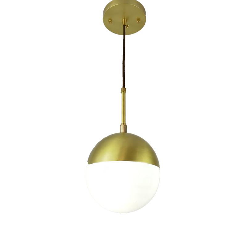 Modern glass ball brass Pendant Light Loft Creative Style For Living Room window shop home decoration LED copper lighting brass half round ball shade pendant light led vintage copper wooden lighting fixture brass wood fabric wire pendant lamp