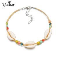 Yiustar Sliver Color Cowrie Shell Bracelets for Women Trendy Rope Chain Bracelet Beads Charming Bracelet Bohemian Beach Jewelry