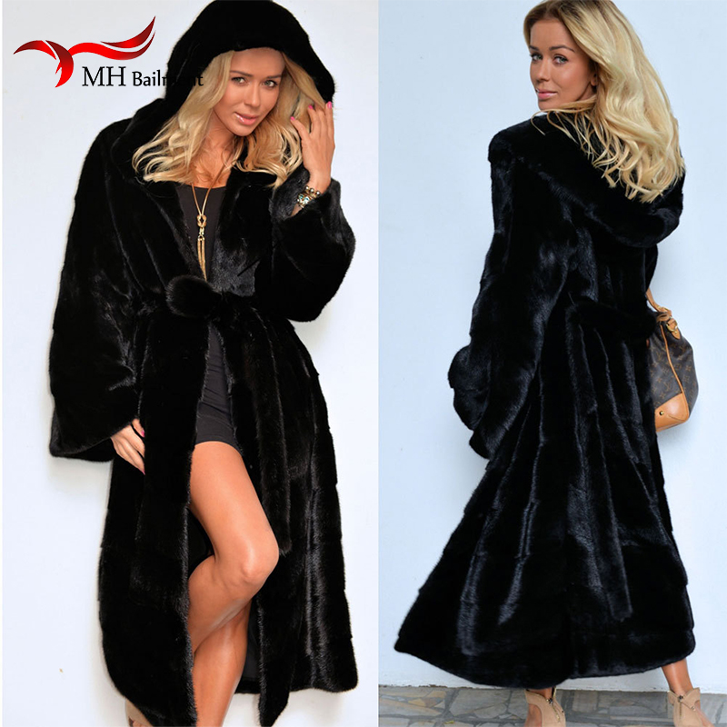2018 New Fashion Women Winter Coats Whole   Leather   Imitation Rex Rabbit fur Coat Hooded Large Size Loose Warm Fur Long Coat