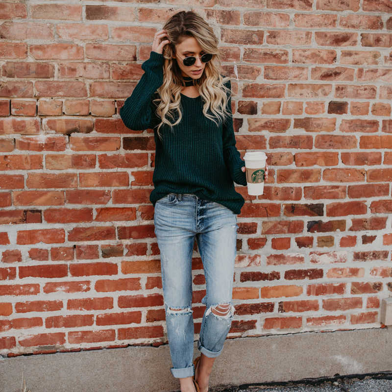 ... Chic Knitted Halter Sweater Women Solid Green Pullovers Women Autumn  Winter Tops Pull Femme 2018 Casual ... 8bb8a9927