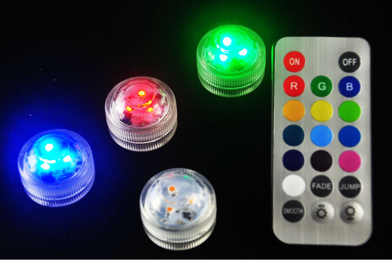 10*RGBW 3in1 Remote Submersible Led Lights Floral Mini Tea Light Candle For Wedding Party Flower Vase Home Decoration