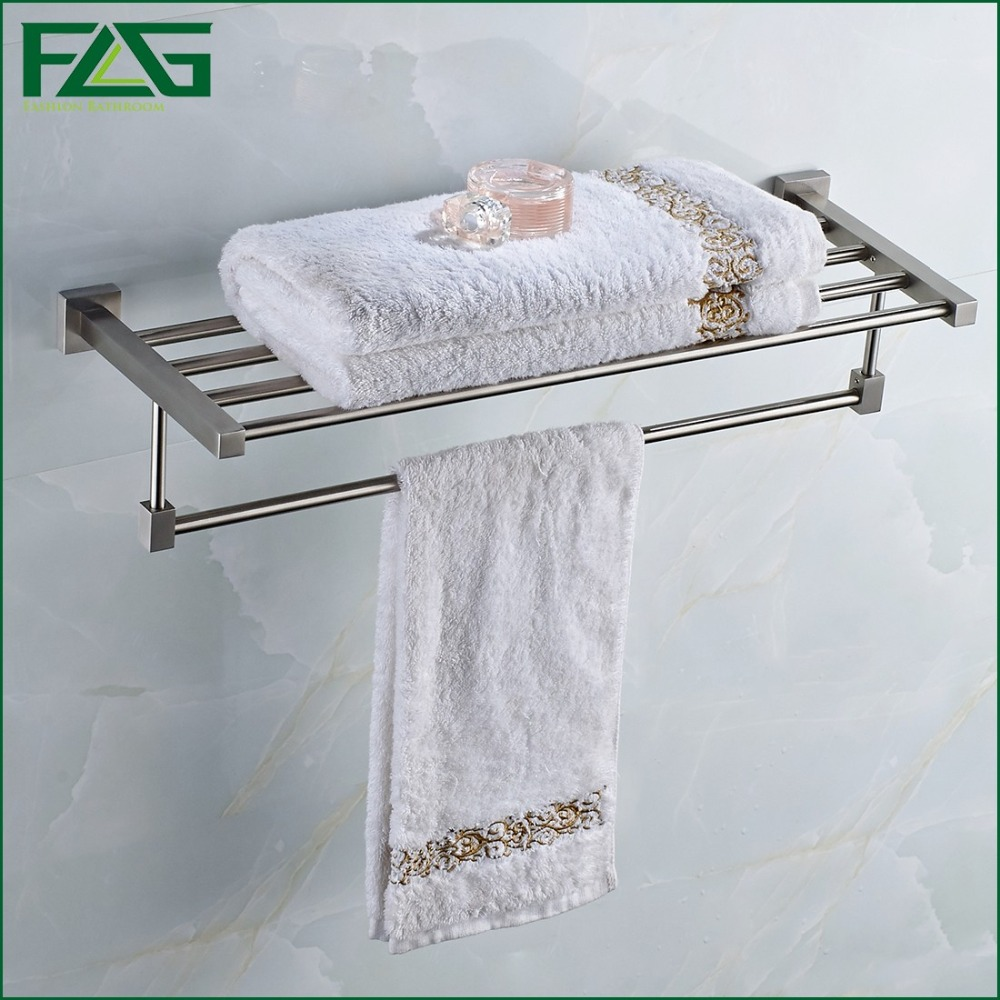 FLG Luxury 304 Stainless Steel Bathroom Wall Mounted Foldable Towel Rack Bathrobes & Bath Towel Racks Bathroom Towel Shelf G208 kitchenaid kblr04nser набор из 4 керамических кастрюль для запекания red