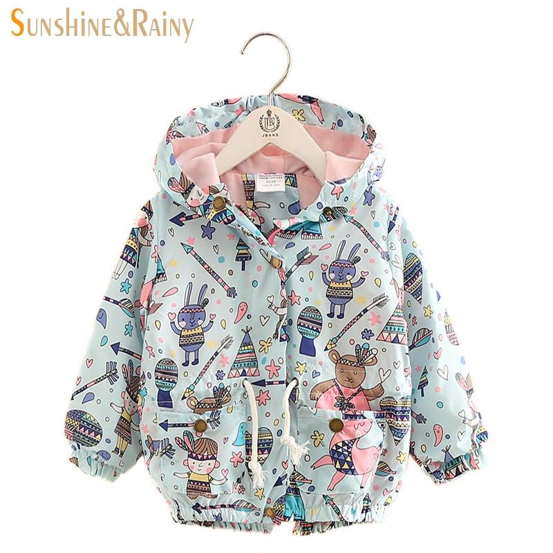 2017 Baby Girl Jackets Coats Cartoon Graffiti Hooded Windbreaker For Toddler Girls Boys Spring Kids Jacket Outerwear