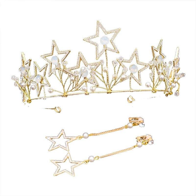Coréen or mariées couronnes étoiles strass cheveux accessoires cerceaux boucles d'oreilles accessoires de mariage robes de mariée premiers accessoires
